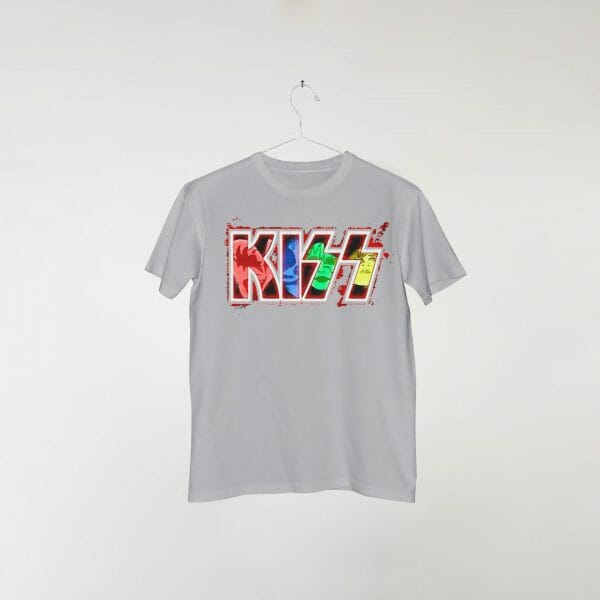 camiseta-cinza-kiss-comic