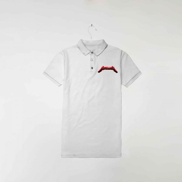 camisa-polo-branca-metallica-in-red