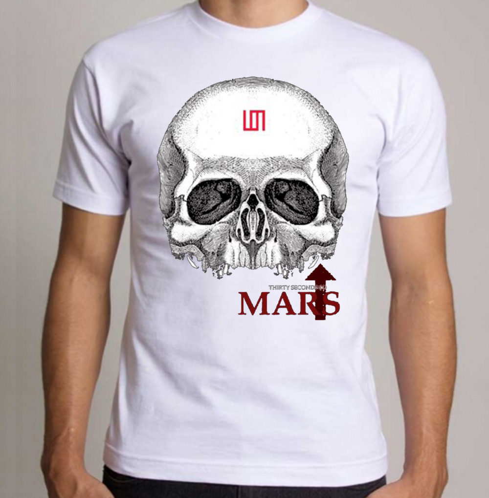 camiseta-algodao-branca-30-seconds-to-mars-skull