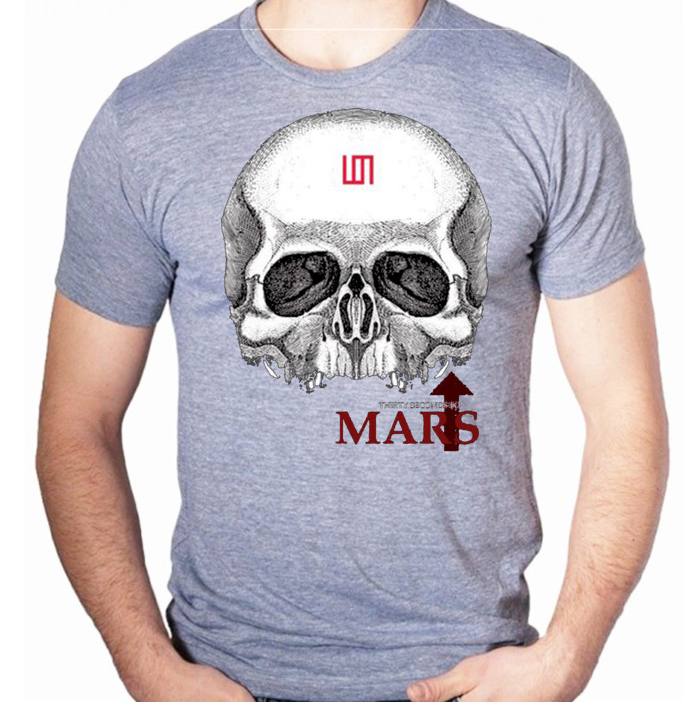 camiseta-algodao-cinza-30-seconds-to-mars-skull