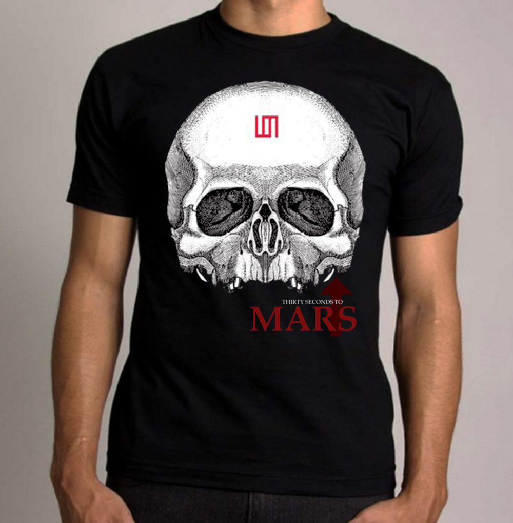 camiseta-algodao-preta-30-seconds-to-mars-skull
